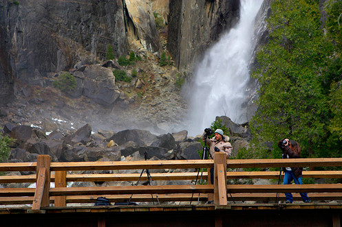 Lem L. (l) and Leana D. (r) shooting from the Lower Yosemite Fall bridge