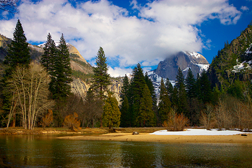 Half Dome over the banks of the Merced River