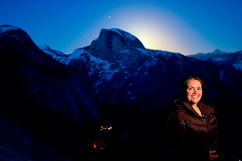 Leana from the Yosemite Falls Trail as the moon prepared to peek from behind Half Dome