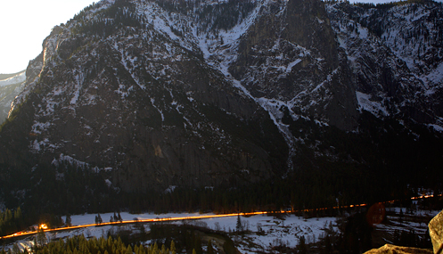 Playing around with timed exposures of the traffic on Suothside Drive in Yosemite Valley.
