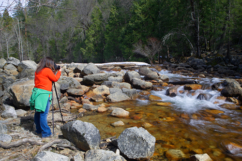 Leana D. shooting the flowing water on Tenaya Creek.