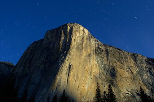 Moonlight makes it's way down the face of El Capitan