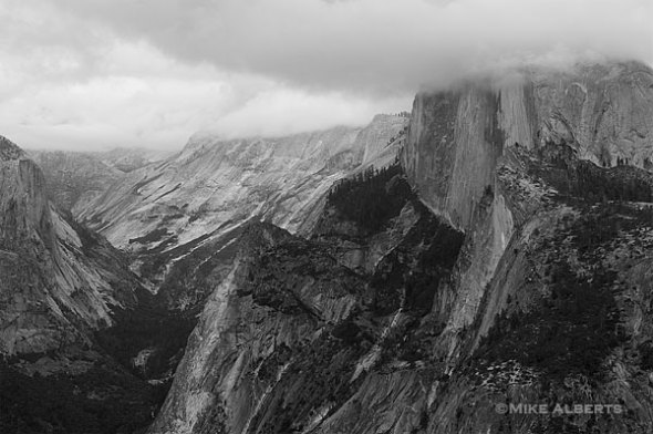 Half Dome with it's head in the clouds (Photo by Mike Alberts)