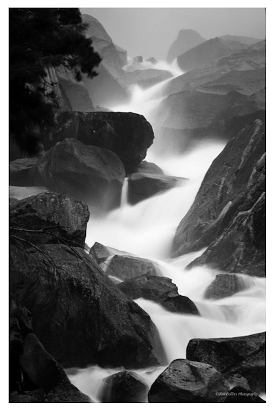 Nice shot of flowing water in the Merced River coming off Vernal Fall.  (photo by Tom Collins)
