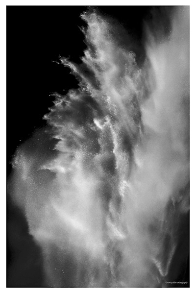 Spectacular shot of water spraying off rocks from Vernal Fall (photo by Tom Collins)