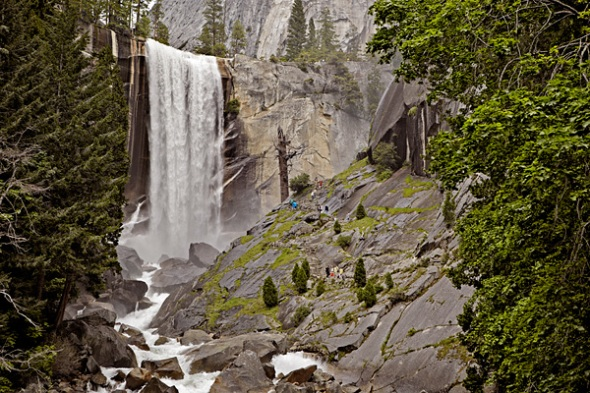 Vernal Fall and people on the Mist Trail getting wet