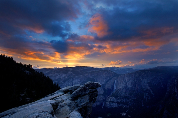 Sunset from Glacier Point with Yosemite Falls in the foreground (photo by Steve Collins)