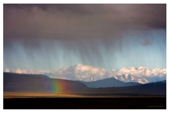 Rainbow near Mono Lake. Tom Collins was the only one who got this good a shot of the few moments the rainbow appeared. (photo by Tom Collins)