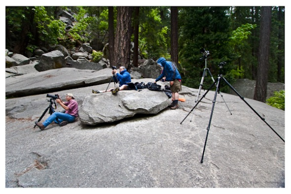 Busy shooting Vernal Fall from the big flat rock.  The wind coming off the waterfall was cold and relentless...