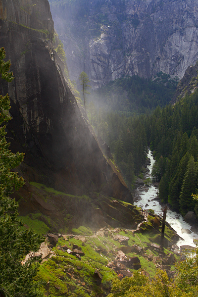The Mist Trail as seen from the otp of Vernal Fall