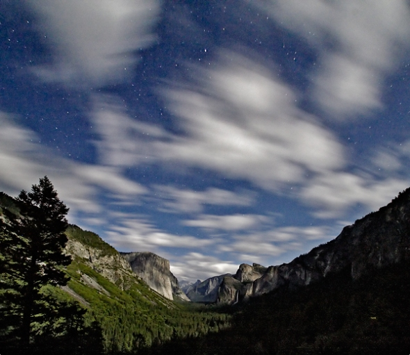 Yosemite Valley at night in the moonlight from Tunnel View