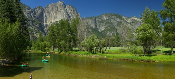 The shot of Upper Yosemite Fall and the Merced River full of rafters from Swinging Bridge